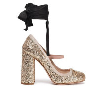 Glittered Leather Mary Jane Pumps Gold
