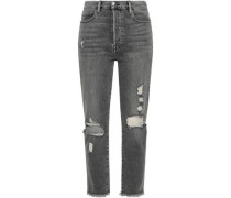 Cropped Distressed High-rise Straight-leg Jeans Gray  5