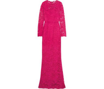 Crystal-embellished corded lace gown