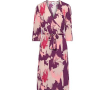 Helga Printed Crepe De Chine Wrap Dress Baby Pink
