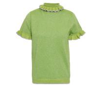 Ruffle-trimmed Metallic Wool-blend Top Lime Green
