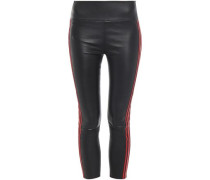 Cropped Striped Stretch-leather Leggings Black