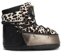 Leopard-print calf hair snow boots