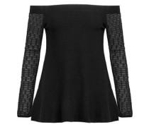 Off-the-shoulder crochet-paneled jersey top