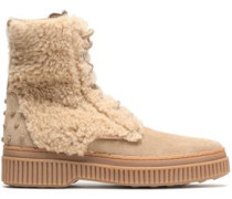Studded Suede And Shearling Ankle Boots Sand