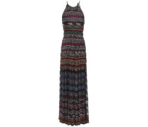Metallic Crochet-knit Halterneck Maxi Dress Black