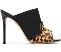 Janet leopard-print calf hair and elastic mules