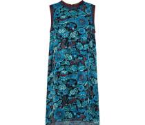 Metallic-trimmed Printed Silk-jacquard Mini Dress Teal