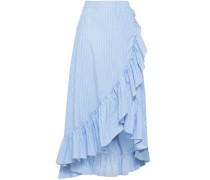 Wrap-effect Ruffle-trimmed Cotton-poplin Midi Skirt Light Blue