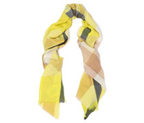 Checked Cashmere Scarf Bright Yellow Size --