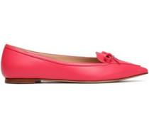 Bow-embellished leather point-toe flats