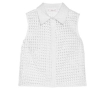 Cropped Broderie Anglaise Cotton-blend Shirt White