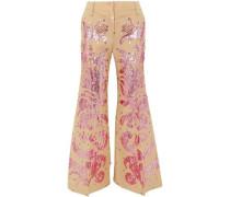 Sequin-embellished Wool And Silk-blend Flared Pants Beige