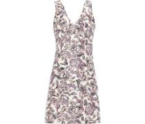 Floral-jacquard Mini Dress Plum