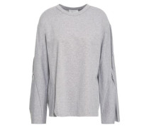 Cutout Cotton-jersey Top Light Gray