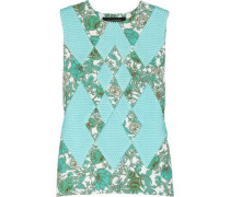 Printed scuba-jersey and mesh top