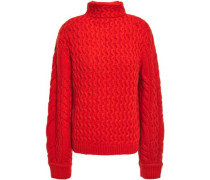 Cable-knit Turtleneck Sweater Tomato Red