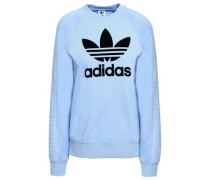 Flocked French Cotton-terry Sweatshirt Light Blue