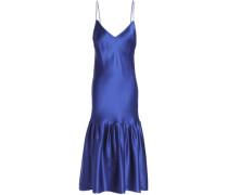 Gathered silk-satin dress