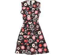 Baja Bound Floral-print Stretch-cotton Poplin Mini Dress Black