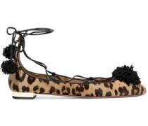 Sunshine pompom-embellished leopard-print calf hair ballet flats