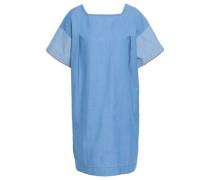 Cotton-chambray Mini Dress Light Blue