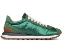 Woman Suede-paneled Rubber-trimmed Satin Sneakers Green