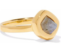 Petra Stacking 18-karat gold-plated sterling silver labradorite ring