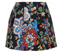Connor pleated printed cotton-blend mini skirt