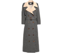 Double-breasted Checked Wool Trench Coat Dark Gray