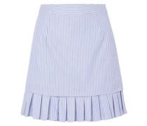Pleated Striped Cotton Mini Skirt Light Blue