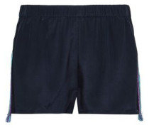 Embroidered Silk Crepe De Chine Shorts Navy