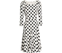 Pleated polka-dot silk-blend dress
