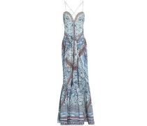 Crystal-embellished printed cotton-jersey maxi dress