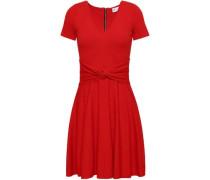 Twist-front Stretch-knit Mini Dress Red
