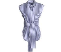 Tie-front striped cotton-poplin shirt