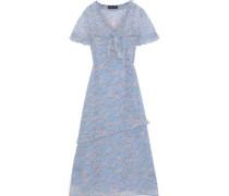 Ellie Bow-detailed Floral-print Georgette Midi Dress Light Blue
