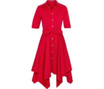 Asymmetric bow-detailed cotton-blend poplin dress
