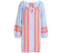 Embroidered cotton-blend gauze mini dress