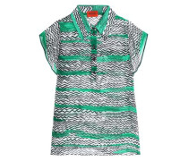 Crochet-trimmed printed silk-gauze top