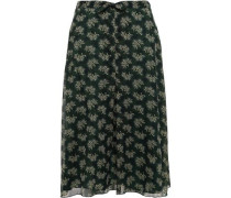 Knotted Printed Georgette Skirt Forest Green