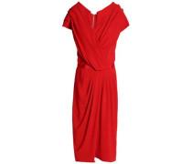 Wrap-effect satin-trimmed crepe dress