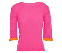 Woman Ruffle-trimmed Ribbed And Cloqué-knit Top Pink