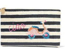 Vespa Embroidered Striped Woven Straw Pouch Midnight Blue Size --