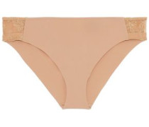 Stretch-jersey and corded lace mid-rise briefs