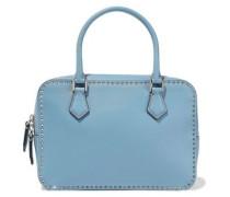 Stud Stitching Leather Shoulder Bag Light Blue Size --