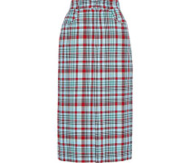 Checked Jacquard Pencil Skirt Light Blue