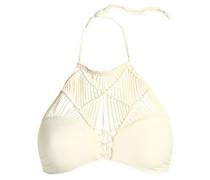 Waimea macramé-paneled halterneck bikini top