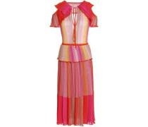 Cutout Ruffled Metallic Striped Crochet-knit Midi Dress Orange