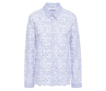Striped Broderie Anglaise Cotton Shirt Light Blue
